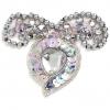 Motif Beaded 7.5cmx6cm Heart Shape 1Pc Silver Aurora Borealis